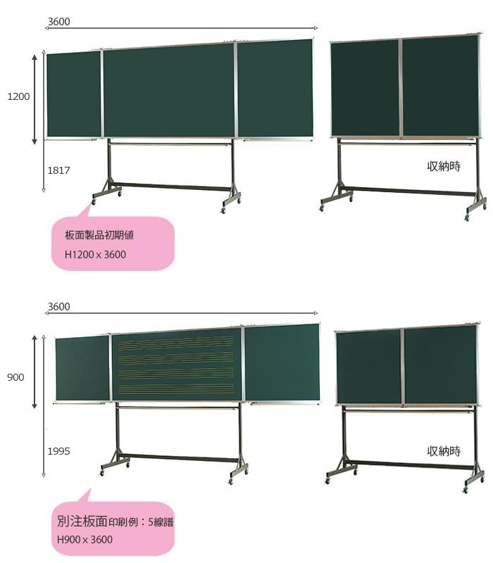 観音開きタイプ脚付5面黒板 2種類詳細